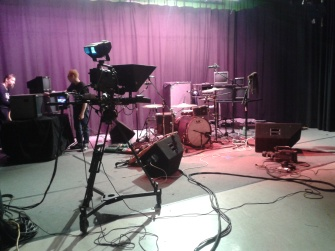 A Local Live set up at TSTV studio. A lot of mics and cables. I'm getting good at wrapping XLRs...