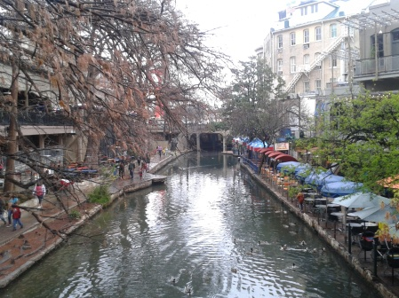A rainy riverside at San Antonio - 1.5 hours south west of Austin. Only costed $7 one way by Megabus so it makes a good weekend trip.