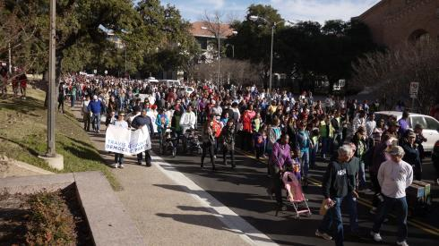 The parade on Martin Luther King day began on campus, Jan 19.