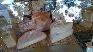 Just a few varieties of cheese at the market