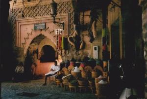 Inside the souks of Marrakech - a spice seller.