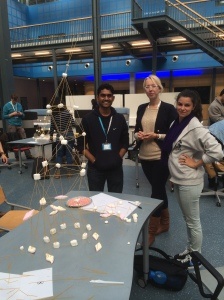 The team I was on, building our tower out of marshmallows and spaghetti