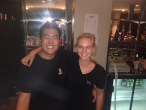 Bar tending at Smälands nation with My Swedish friend Jonas.