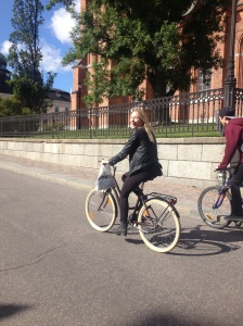 My Danish friend Martha cycling past the cathedral.