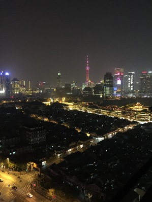 The night skyline of Shanghai from a friend's apartment