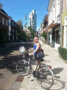 My friend Emma and I exploring Tilburg by bike