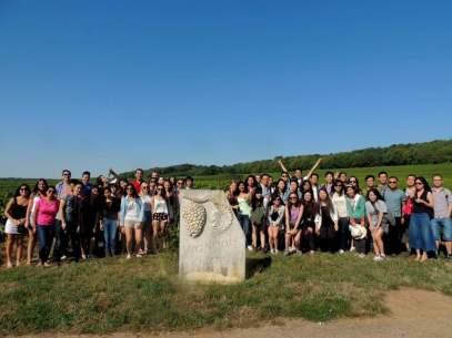 Everyone at vineyard in Champagne Region
