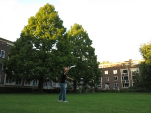 Playing Frisbee in the park that is nestled inside the International Student accommodation.
