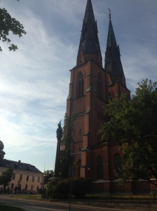 Uppsala cathedral towering over the campus.