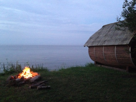 Our Cabin and fire one night in Melnsils Latvia