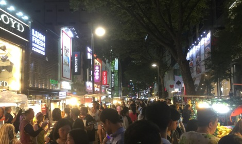 Myeongdong shopping. seoul many people.